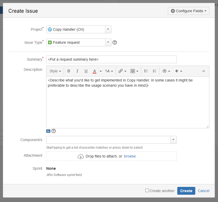 Jira Create Issue form